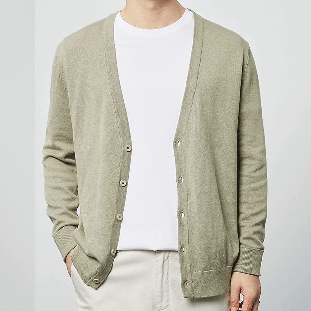 SSMDYLYM Cardigan Male Autumn Solid Color Cardigan Knitted Cardigan Cotton Casual Buttoned Cardigan (Color : Multi-Colored, Size : L Code)