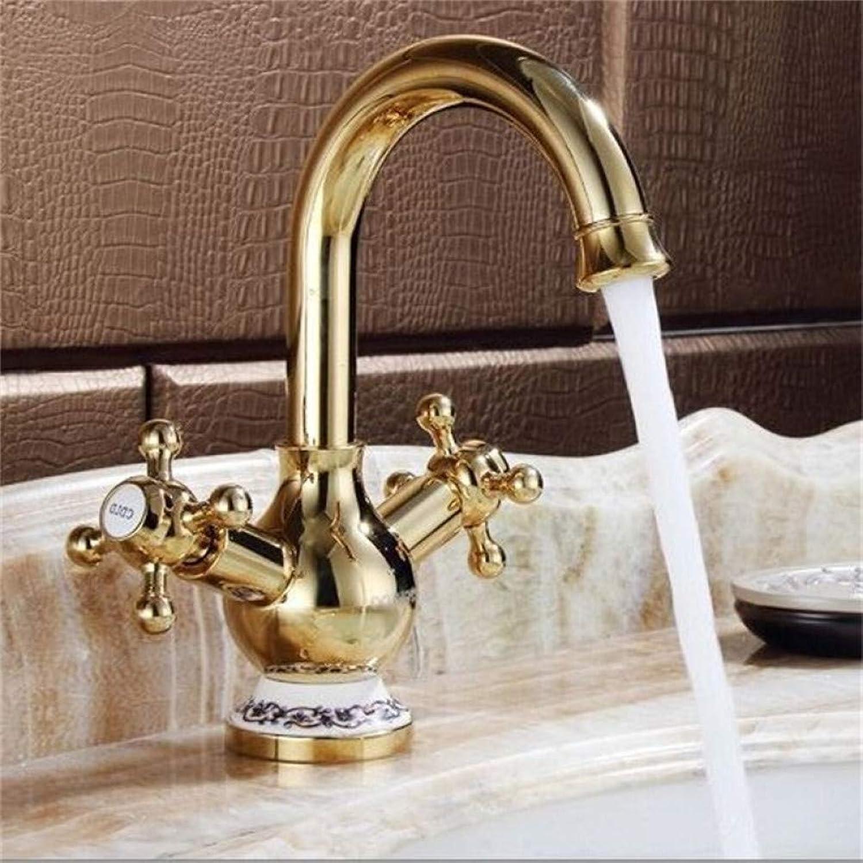 VIOYO Wasserhahn Wasserhahn Royal Gold überzogene Drehbare Doppelrad Griff Bad Wasserhahn Keramikhalter Swivel Gebogene Becken Waschbecken Mischbatterie