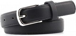 JOYS CLOTHING ジーンズパンツの女性の革ベルトシングルプロングバックル付きカジュアルドレスベルト (Color : Black, Size : 95cm)