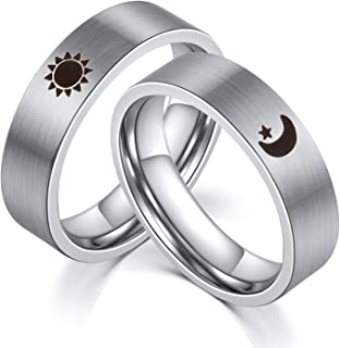 Sun and Moon Star Rings for Couples 2pcs Matching Set Stainless Steel Promise Wedding Bands for Him and Her,Silver[Please Buy Two Rings for one Pair]