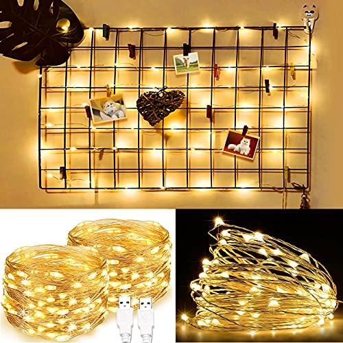 Briignite luci a LED da 10 m, alimentate tramite USB, 100 LED a catena decorativa in argento, per interni, camera da letto, parete, Natale, feste, compleanni, patio, decorazione bianca calda, 2 Pezzi