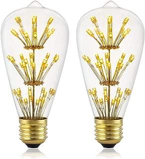 Vintage LED Edison Bulb, Diamond Shaped LED Bulb,Mood Lighting Warm Yellow Clear Glass, LED Filament-ST64-2 Pack