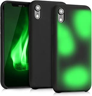 kwmobile Thermal Sensor Case Compatible with Apple iPhone XR - Color Changing Heat Sensitive Cover - Black/Green