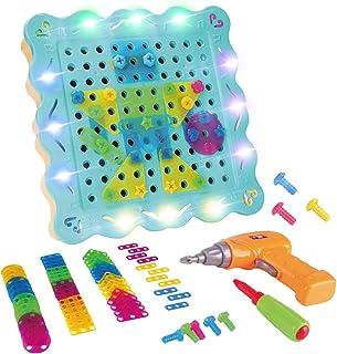LITTLE COW 組み立ておもちゃ 子供用 電動ドリル ネジ 積み木 ツールボックス カラフル おもちゃセット 収納ボックス付き 大工さん 知育玩具 誕生日 プレゼント (200PCS)