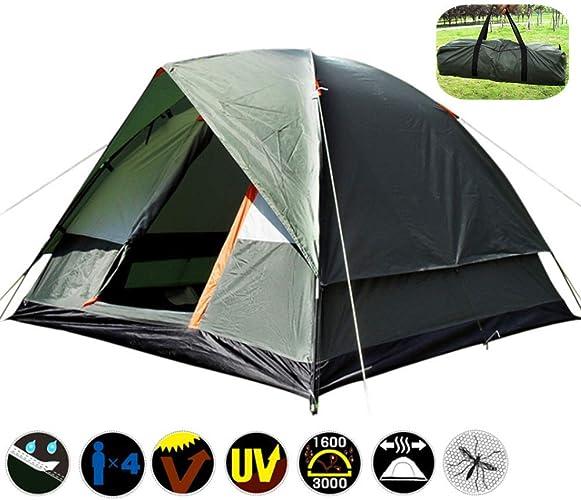 ZXL 3-4 Personnes Tente de Camping Coupe-Vent Double Couche imperméable Anti UV tentes de Tourisme pour la randonnée en Plein air Plage Voyage