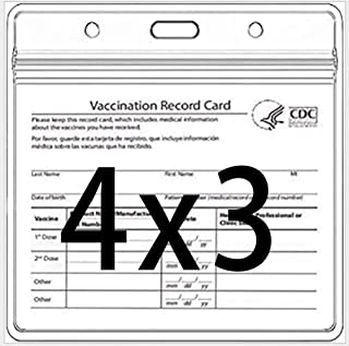 CDC Vaccine Card Protector 4 x 3 inch Immune Record Vaccine Card Holder (5 pieces with lanyard)