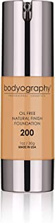 Bodyography Natural Finish Foundation Makeup (Med/Dark#200) Oil-Free Anti-Aging Salon Natural Finish with Vitamin E, C, An...