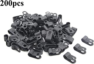 TOVOT 200 PCS Black Nylon Screw Wire Clips R-Type Clip Cable Clamp Fasteners Tubing Clips 1/4 Inch (6.5 mm) for Wire Management