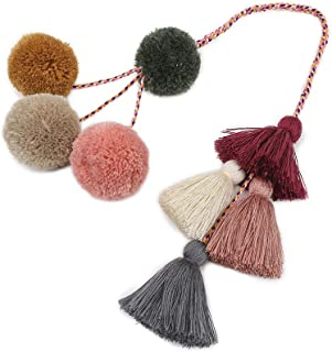 Xinqiao Hand Made Colorful Bohemian Tassel Bag Charm Pom Pom Key Chain for Girls