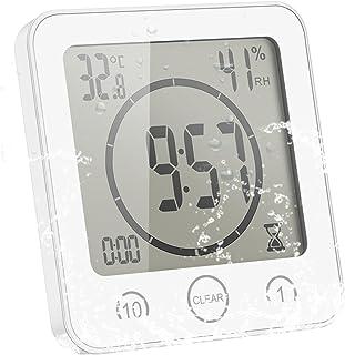ALLOMN Badrumsklocka, LCD digital dusch klocka larm vattentät touch-kontroll ℃/℉ temperaturfuktighet, räkningstimer, 3 mon...