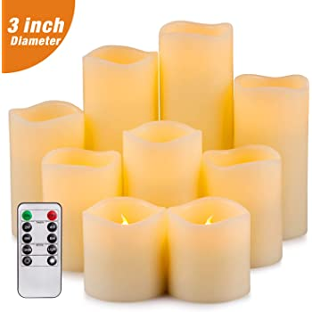 """Yutime Flameless Candle Set of 9 (D 3"""" x H 3"""" 4"""" 5"""" 6"""" 7"""" 8"""") Battery Operated LED Pillar Real Wax Candles with Remote Control Timer"""