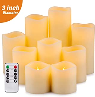 "Yutime Flameless Candle Set of 9 (D 3"" x H 3"" 4"" 5"" 6"" 7"" 8"") Battery Operated LED Pillar Real Wax Candles with Remote Control Timer"