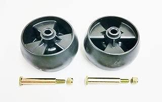 Set of 2, Deck Wheels Replace 734-04155, Bolt Replaces 938-3056 Plus Locknuts. MTD, Cub Cadet, Troy Bilt, White