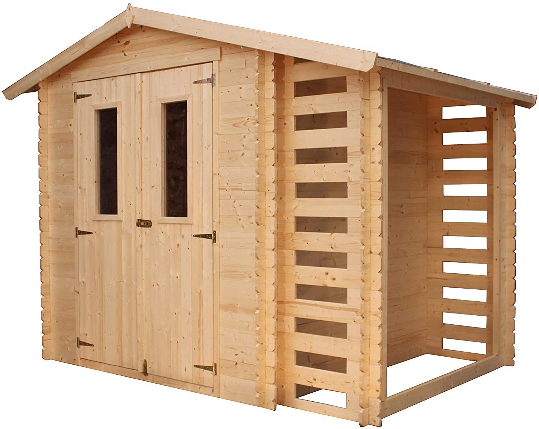 TIMBELA M386C ABRI de Jardin en Bois Exterieur - Chalet en Pin/d'épicéa + Bucher- H215 x 256 x 200 cm, 3.53 m²+ 168 x 56 cm, 0.97 m²