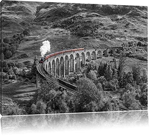 Pixxprint Eisenbahnviadukt in Schottland als Leinwandbild | Größe: 120x80 cm | Wandbild | Kunstdruck | fertig bespannt