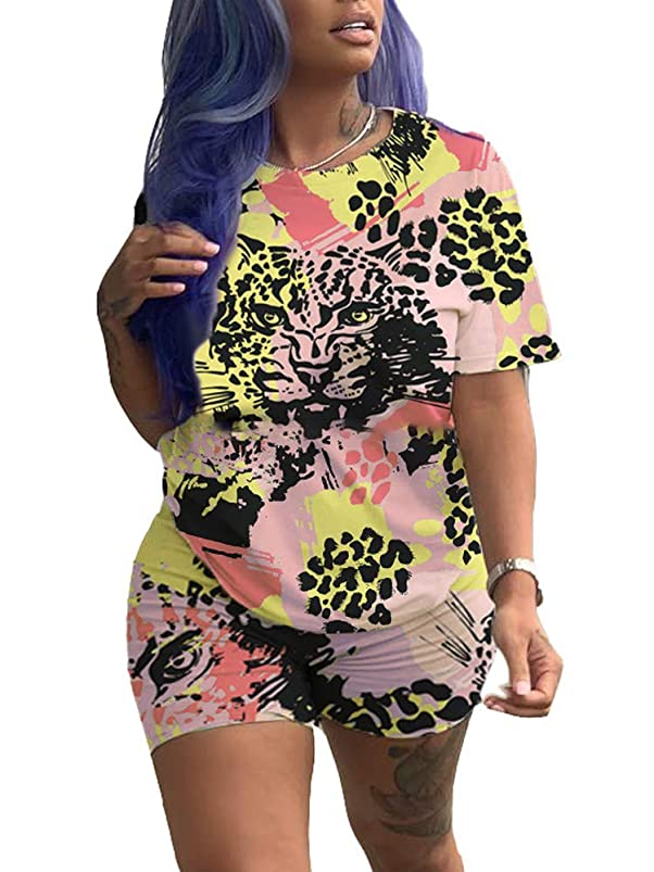 Xibulin Women Casual 2 Piece Outfit Colorful Animal Print Short Sleeve T-Shirts Bodycon Shorts Set Jumpsuit Rompers hwitpssc211623