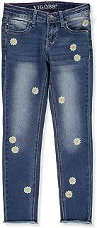 VIGOSS Girls' Sunflower Fray Ankle Skinny Jeans