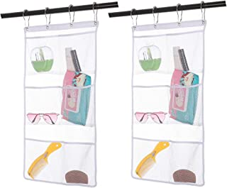 2 Pack Hanging Mesh Shower Caddy Organizer with 6 Pockets, Shower Curtain Rod/Liner Hooks Bathroom Wall Door Organization, Dorm Space Saving, Bathroom Accessories, Bath Toy Organizer Kids with 4 Rings