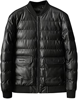 Beautyfine Men Leather Jacket Autumn Winter Biker Motorcycle Zipper Outwear Coat Multi-Pocket Punk Style