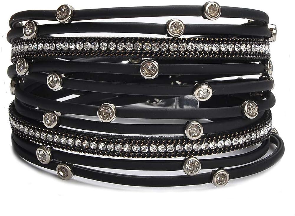 TASBERN Women Leather Wrap Bracelet Stud Beads Crystal Cuff Bracelets Jewelry for Ladies Girls
