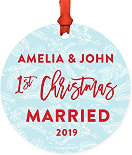 Andaz Press Personalized Wedding Engagement Round Christmas Keepsake Ornament, Amelia & John First Christmas Married 2019, Winter Blue and Red, 1-Pack, Includes Ribbon and Gift Bag, Custom Name