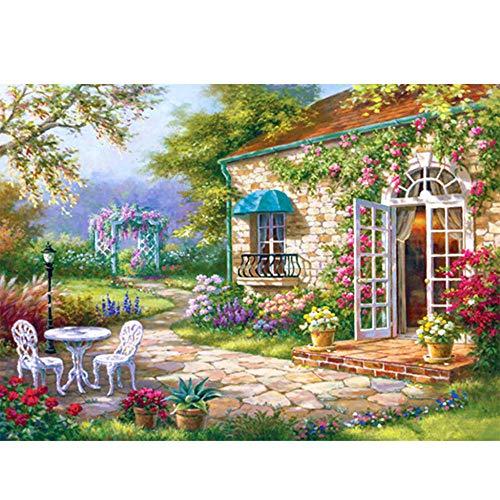 Kit de pintura de diamantes 5D,Cabaña con silla de jardín en el patio Diamante Pintura Kits DIY 5D Kit de Pintura de Diamante,para decoración de pared del hogar 30x40 cm(Sin marco)