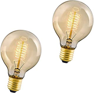 Paquete de 2 Bombillas Vintage E27, Bombilla Incandescente de Tornillo Edison de 60W, Bombillas Decorativas de Filamento en Espiral, Regulables, Luz Blanca Cálida 2700K, 230V