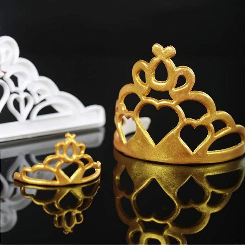 Mity Rain Crown Cookie Cutters Set Tiara Fondant Cutter Crown And Princess Crown Mold CupCake Decorating Gumpaste Mould Set Of 2