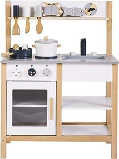 おままごとキッチン 木製 誕生日 台所 調理器具付 食材 知育玩具 コンロ ミニキッチン おもちゃキッチン (グレー)