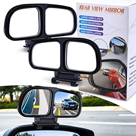 YnGia HD Glass Adjustable Blind Spot Mirror for Cars Left and Right