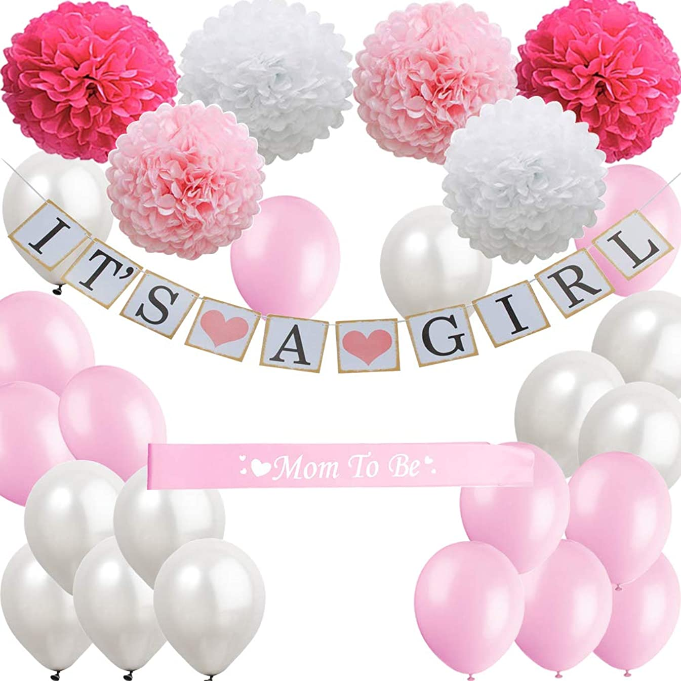 Baby Shower Decorations for Girl Set, It's a Girl Banner, White Pink Rose Red Paper Flower Pom Poms, White Pink Balloons, Mom to be Sash, Perfect for Indoor and Outdoor Baby Shower Favors, Gifts, Games, Party