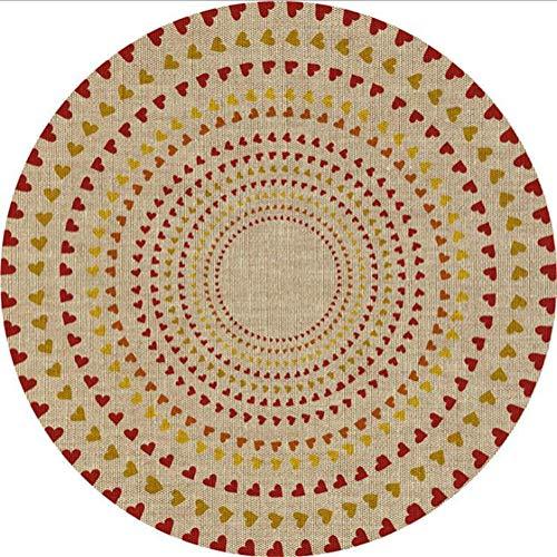 Icole Alfombra redonda de algodón de 120 cm de diámetro