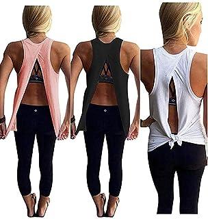a24e4b0e812f5 Mazonyi Women s Sexy Open Back Yoga Workout Tops Backless Shirt Active  Workout Clothes