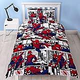 Spiderman Ultimate Metrópolis - Funda de edredón para Cama Individual, diseño Reversible de Dos Caras, Incluye Funda de Almohada a Juego, Color Rojo, 200 x 130 cm