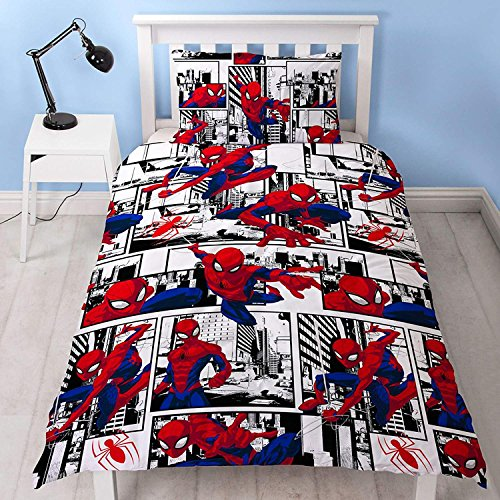 Spiderman Ultimate Metropolis Single Duvet Cover | Reversible Two Sided Design | Kids Bedding Set Includes Matching Pillow Case, Red, 200 x 130cm