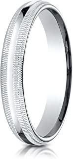 Palladium 4mm Domed Standard Comfort-Fit Wedding Band Ring for Men & Women with Double Milgrain