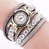 steellwingsf Vintage Damen Strass Decor Runde Zifferblatt Armband Analoge Quarz-Armbanduhr, grau, Einheitsgröße