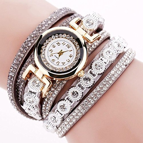 Steellwingsf Vintage Damen Strass Dekor rundes Zifferblatt Analog Quarz Armbanduhr Armband