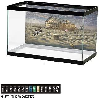 Khaki home Fish Tank Backdrop Surrealistic,Lost in Desert House,Aquarium Background,48