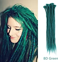 AOSOME 20Pcs/20Inch Crochet Dreadlocks Extensions 100% Handmade Synthetic Hair Extensions,BD Green
