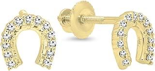 0.13 Carat (ctw) 14K Gold Round White Diamond Ladies Horse Shoe Earrings