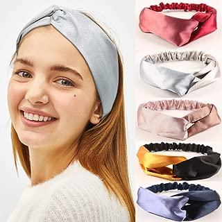 Topfinder Women Boho HeadBand,Headwraps Hair,Criss Cross Head bands for Women, Elastic Sport Head Wrap Twisted Hair Accessories (5 Pack, Satin dual color)