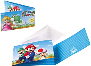 Amscan 9901543 - uitnodigingskaarten Super Mario met enveloppen, 8 stuks, grootte 7,9 x 14,1 cm, kinderverjaardag, themafeest