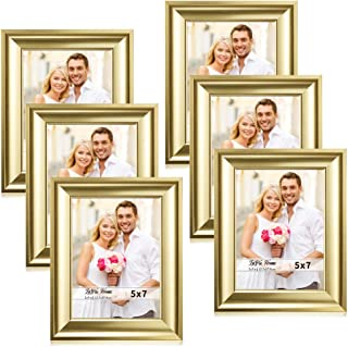 LaVie Home 5x7 Picture Frames(6 Pack,Gold) Photo Frame Set with High Definition Glass for Wall Mount & Table Top Display, Set of 6 Alice Collection