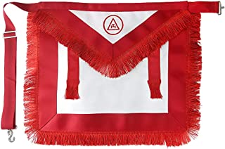 BQuen Masonic Apron Royal Arch Member Synthetic Leather with Fringe