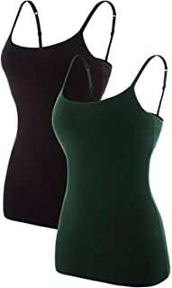 ATTRACO Women's Cotton Camisole Shelf Bra Spaghetti Straps Tank Top 2 Packs