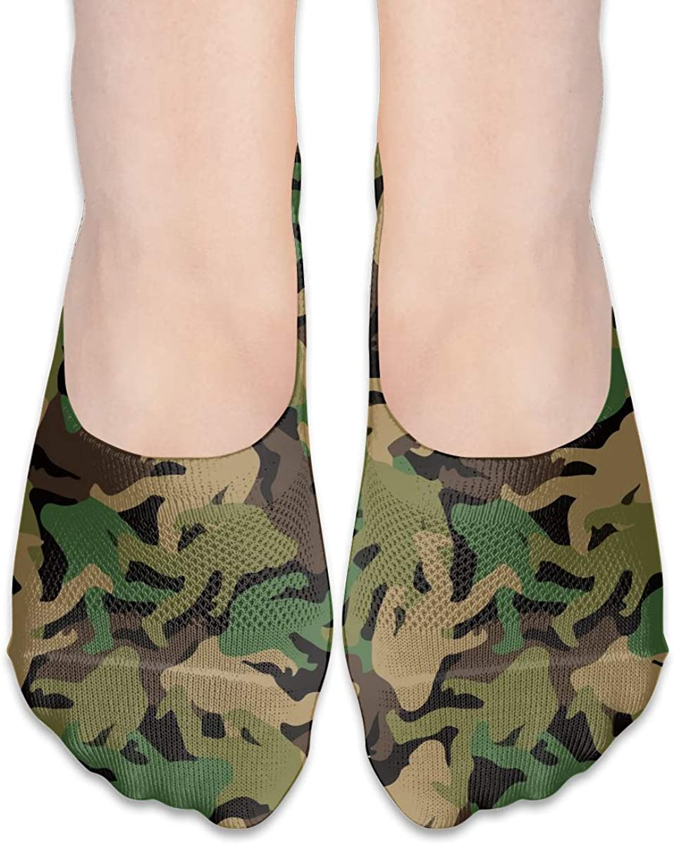 No Show Socks Women Men For Bigfoot Camouflage Camo Flats Cotton Ultra Low Cut Liner Socks Non Slip