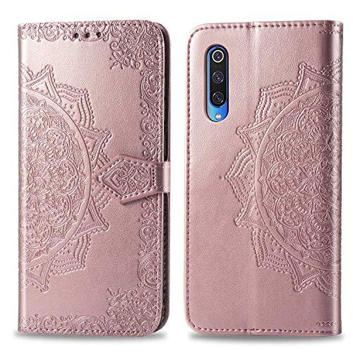 Bear Village Hülle für Xiaomi MI 9, PU Lederhülle Handyhülle für Xiaomi MI 9, Brieftasche Kratzfestes Magnet Handytasche mit Kartenfach, Roségold