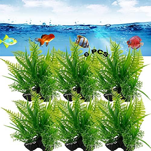 Grand Aquarium Plantes Artificielle Réaliste Plastique 6Pcs Plantes Artificielles en Plastique Paysage d'Aquarium Plante Aquatique Artificielle pour Aquarium Decoration sans Danger pour Tous Poissons