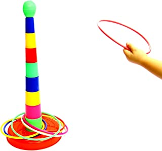 "Kid's Gift | Deluxe 18"" Multicolor Plastic Ring Toss Novelty Game -- Improves Hand-Eye Coordination Portable Ring Toss Party Favor Floor Games for Kids Ages 3 and Up - Indoors 